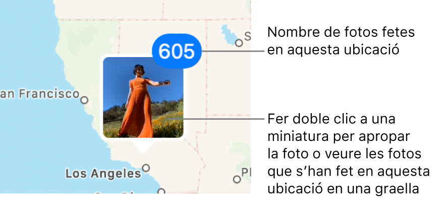 Una miniatura d'una foto al mapa, amb una xifra a l'angle superior dret que indica la quantitat de fotos que s'han fet en aquella ubicació.