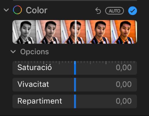 La zona Color del tauler Ajustar, amb els reguladors Saturació, Vivacitat i Repartiment.
