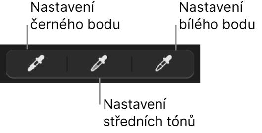 Tři kapátka sloužící knastavení černého bodu, středních odstínů abílého bodu na fotografii.