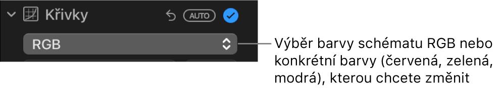Ovládací prvky Křivky na panelu Úpravy svolbou RGB vybranou vmístní nabídce