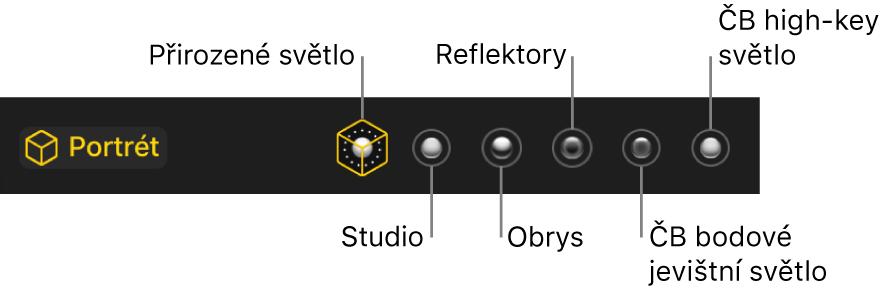 Možnosti efektů nasvícení portrétního režimu; zleva doprava Přirozené, Studiové, Obrysové, Jevištní, Černobílé jevištní aČernobílý ostrý jevištní reflektor