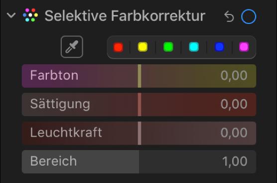 """Die Steuerungen """"Selektive Farbkorrektur"""" im Bereich """"Anpassen"""" mit den Reglern für Farbton, Sättigung, Leuchtkraft und Bereich."""