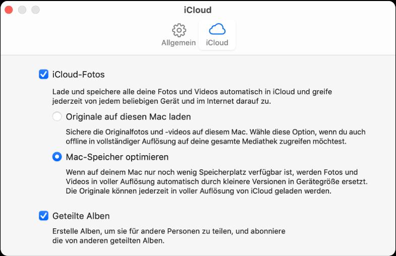 """Bereich """"iCloud"""" der Einstellungen für die App """"Fotos""""."""