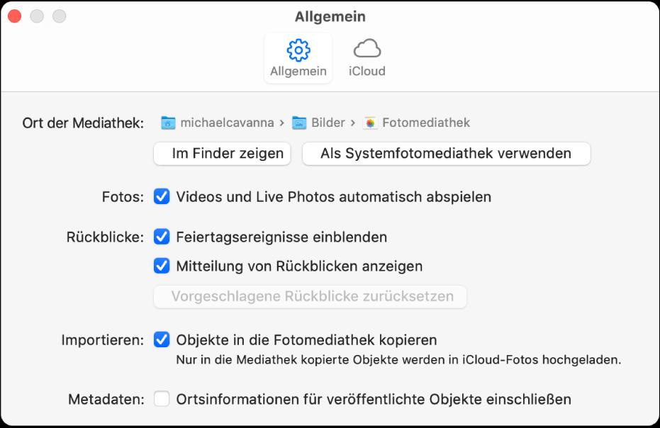 """Bereich """"Allgemein"""" der Einstellungen für die App """"Fotos""""."""