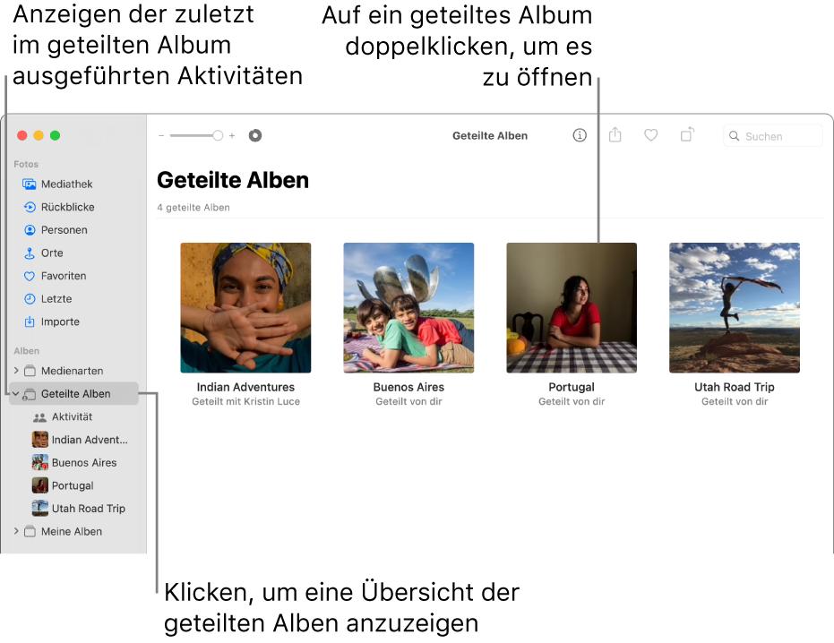 """Das Fenster """"Fotos"""" mit dem in der Seitenleiste ausgewählten Bereich """"Geteilte Alben""""; rechts werden die geteilten Alben angezeigt."""