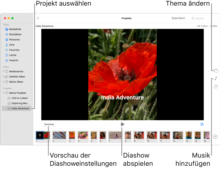 """Das Fenster der App """"Fotos"""" mit einer Diashow im Hauptteil und den Tasten """"Vorschau"""", """"Wiedergabe"""" und """"Endlosschleife"""" unter dem Hauptteil, mit Miniaturen aller Bilder in der Diashow ganz unten und mit den Tasten """"Thema"""", """"Musik"""" und """"Dauer"""" rechts."""