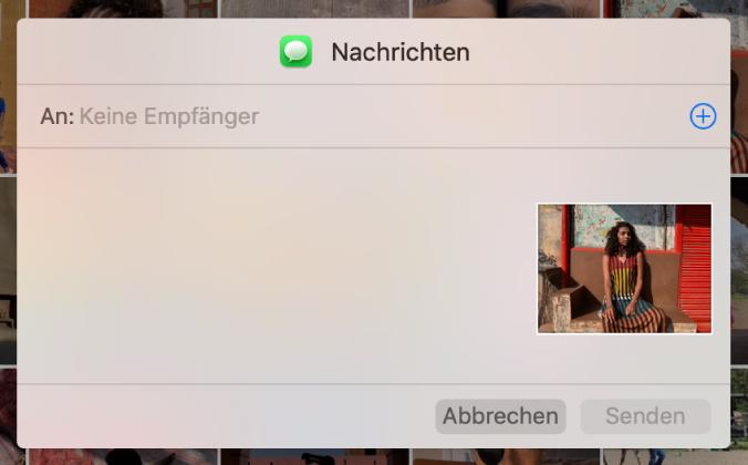 """Fenster zum Hinzufügen von Empfängern beim Teilen von Fotos aus der App """"Fotos"""" mithilfe der App """"Nachrichten""""."""