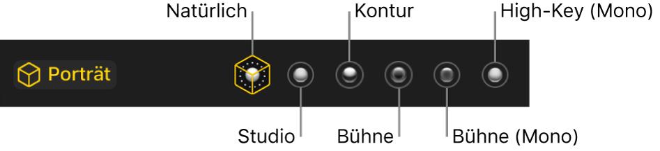 """Die Optionen für die Beleuchtungseffekte eines Fotos, das im Porträtmodus aufgenommen wurde. Hierzu gehören (von links nach rechts) """"Natürlich"""", """"Studio"""", """"Kontur"""", """"Bühne"""", """"Bühne (Mono)"""" und """"High-Key (Mono)""""."""