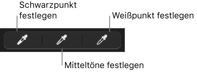 Drei Pipetten, die zum Festlegen von Schwarzpunkt, Mitteltönen und Weißpunkt des Foto verwendet werden.