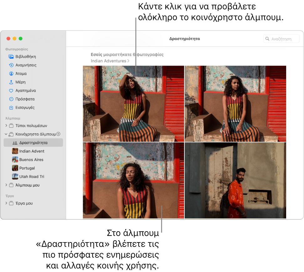 Το παράθυρο Φωτογραφιών, με επιλεγμένη τη «Δραστηριότητα» στην πλαϊνή στήλη και το άλμπουμ «Δραστηριότητα» να εμφανίζεται στα δεξιά.