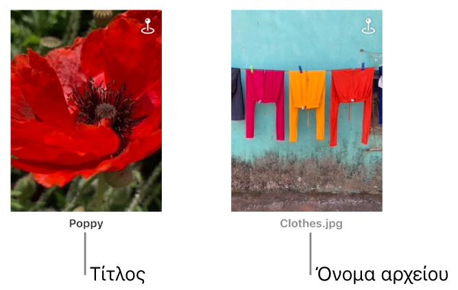 Δύο φωτογραφίες, κάτω από τη μία εμφανίζεται ένας τίτλος και κάτω από την άλλη εμφανίζεται ένα όνομα αρχείου.