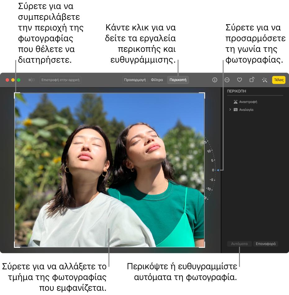 Μια φωτογραφία σε προβολή επεξεργασίας, με την «Περικοπή» επιλεγμένη στη γραμμή εργαλείων, ένα ορθογώνιο επιλογής γύρω από τη φωτογραφία, ένας τροχός κλίσης στα δεξιά της φωτογραφίας, και ένα κουμπί «Αυτόματα» κάτω δεξιά.