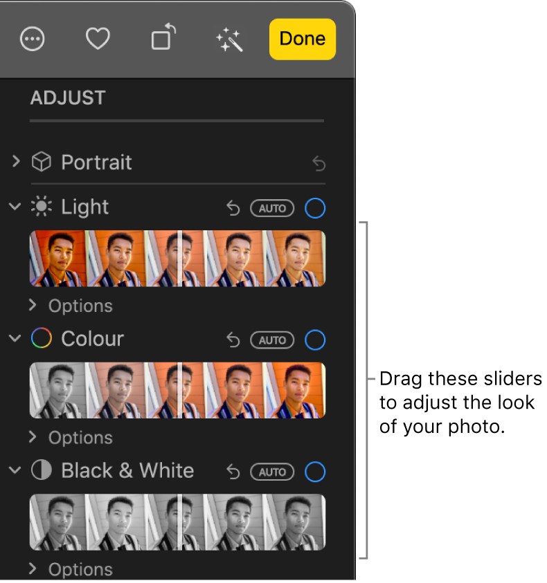 The Light, Colour, and Black & White sliders in the Adjust pane. An Auto button appears above each slider.