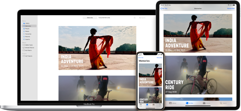 An iPhone, MacBook and iPad all showing the same photos on their screens.