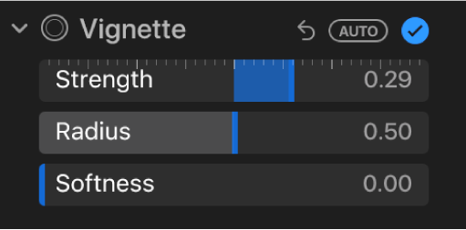 The Vignette controls in the Adjust pane, showing the Strength, Radius and Softness sliders.