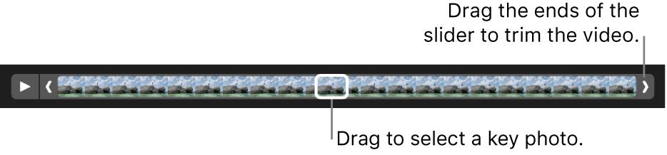 Trim handles in a video clip.