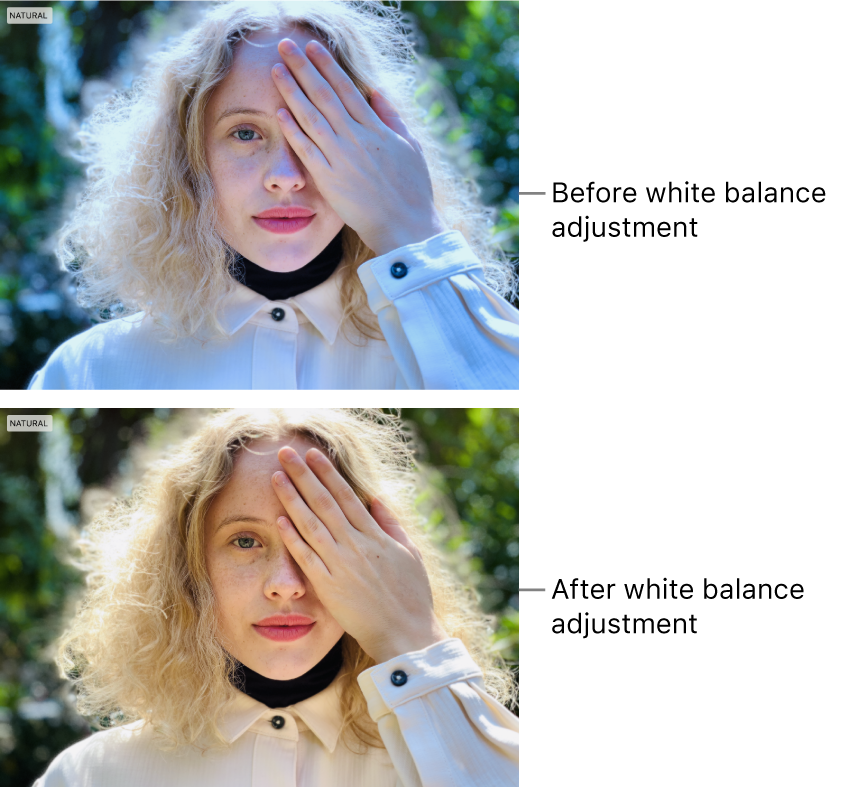 A photo before and after a white balance adjustment.