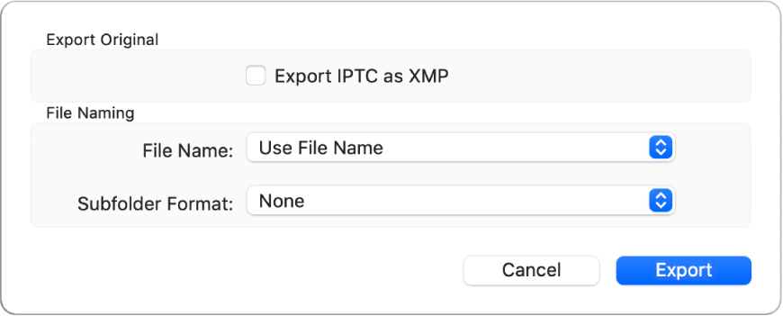 A dialogue showing options for exporting photo files in their original format.