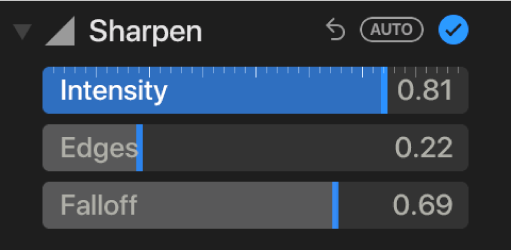 The Sharpen controls in the Adjust pane, showing the Intensity, Edges and Falloff sliders.