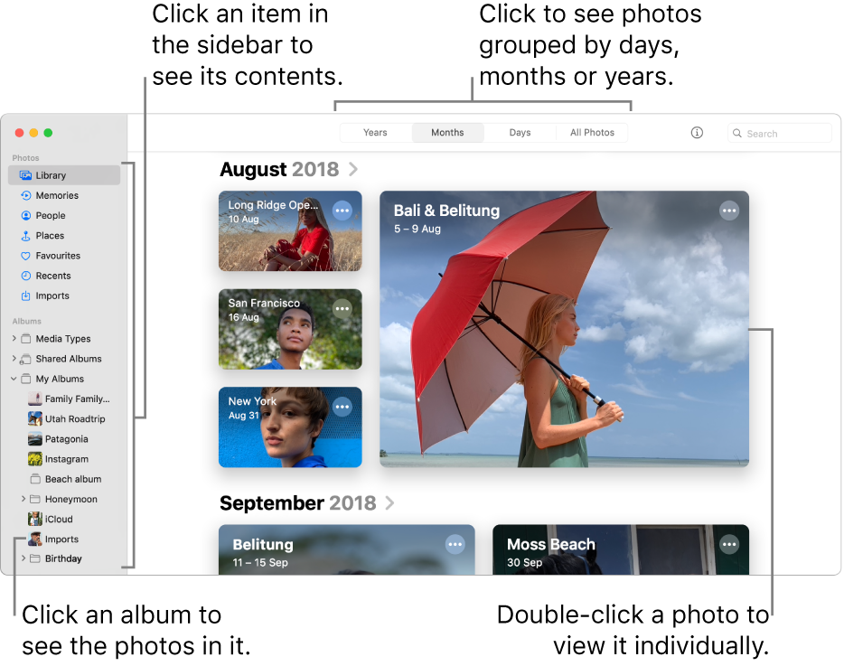 The Photos window showing Months selected in the toolbar and photos organised by month appearing in the main area of the window. On the left is the sidebar, where you can select albums and projects.