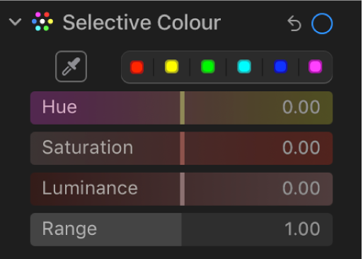 The Selective Colour controls in the Adjust pane, showing the Hue, Saturation, Luminance and Range sliders.