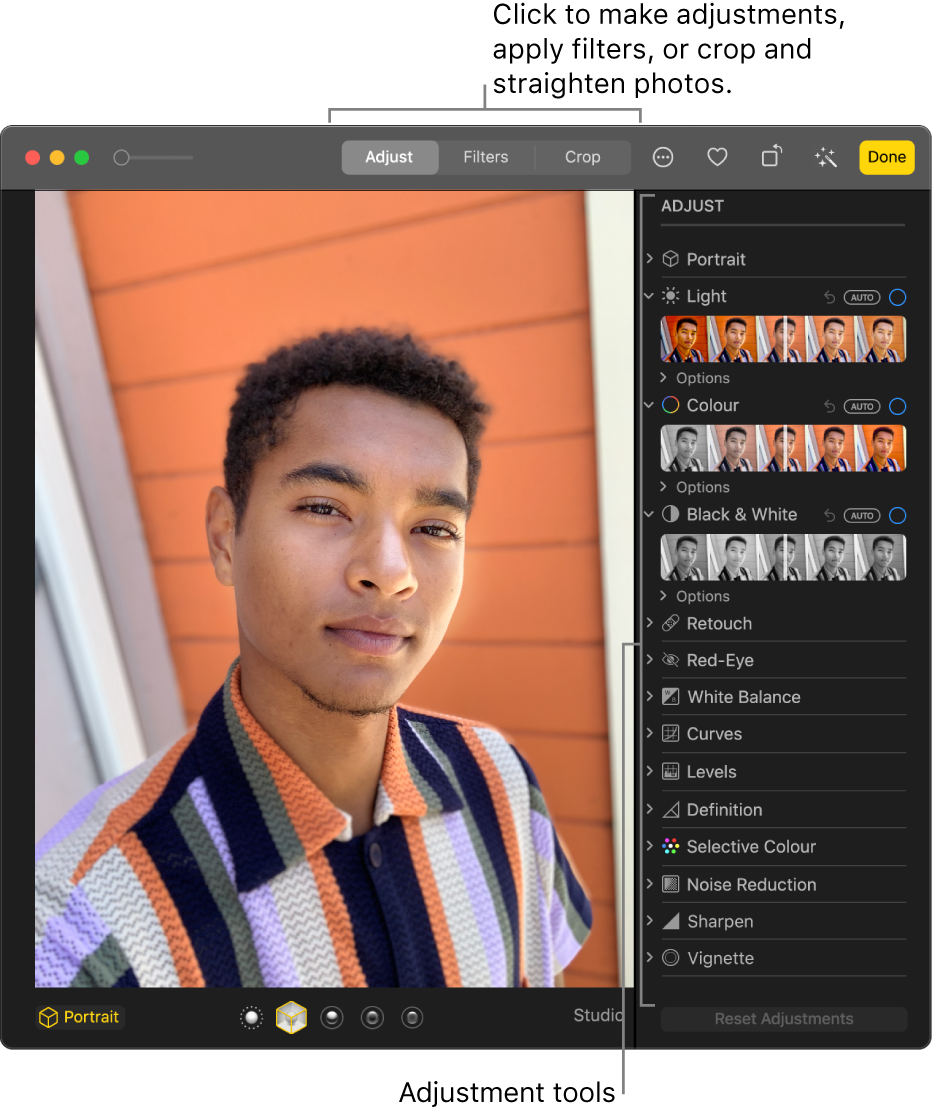 A photo in editing view with editing tools in the Adjust pane on the right.