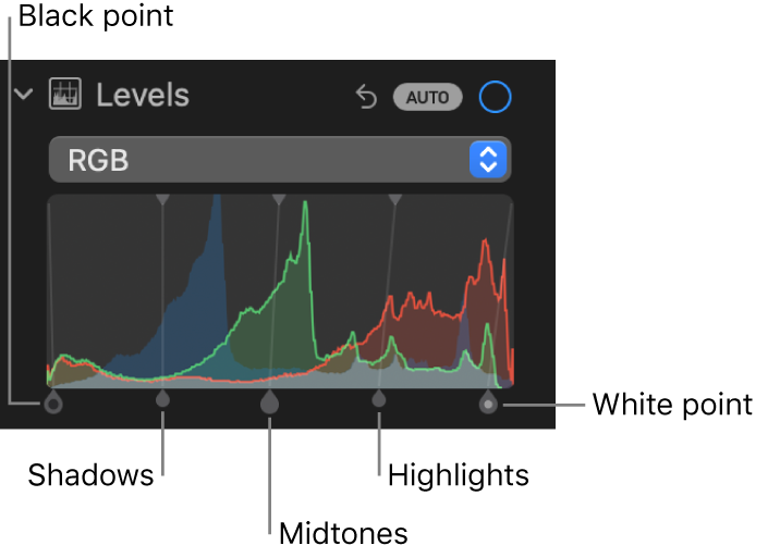 The Levels controls in the Adjust pane, showing the RGB histogram with handles below, including (from left to right) black point, shadows, midtones, highlights, and white point.