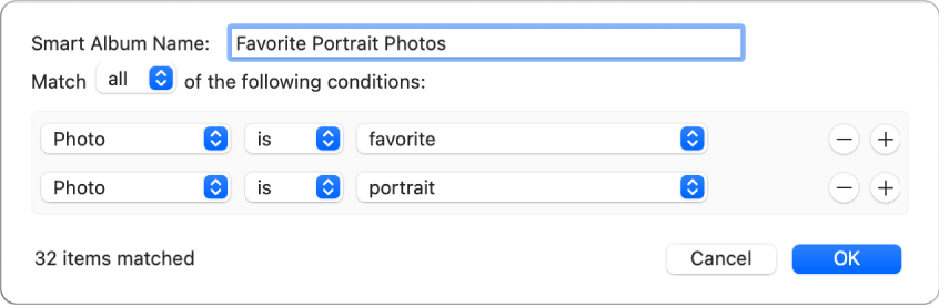 A dialog showing criteria for a Smart Album that collects portrait photos that have been marked as favorites.