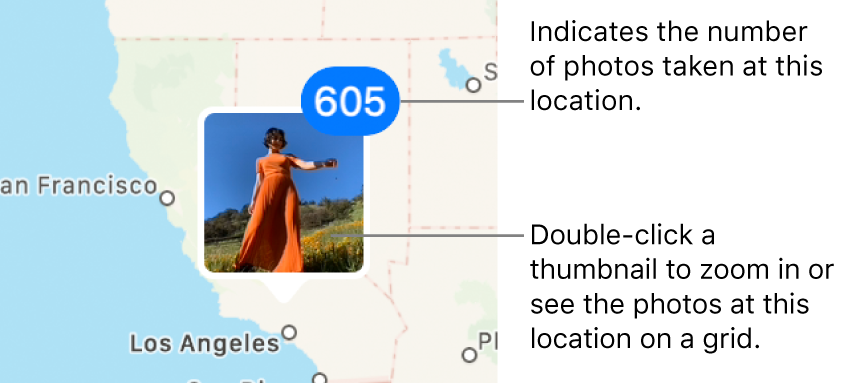 A photo thumbnail on a map, with a number in the top-right corner indicating the number of photos taken at that location.