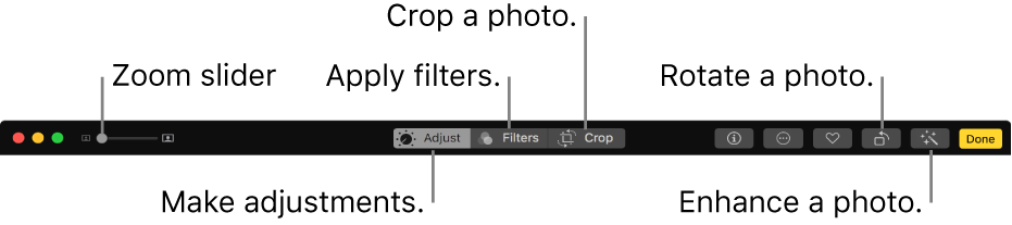 The Edit toolbar showing a Zoom slider and buttons for making adjustments, adding filters, cropping photos, rotating photos, and enhancing photos.
