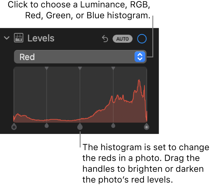 The Levels controls in the Adjust pane, showing the Red histogram with handles below for adjusting the photo's red levels.