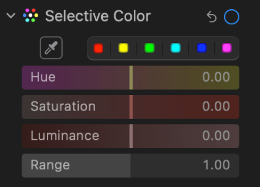The Selective Color controls in the Adjust pane, showing the Hue, Saturation, Luminance, and Range sliders.