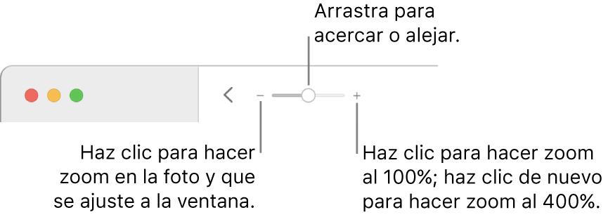 La barra de herramientas mostrando los controles del zoom.