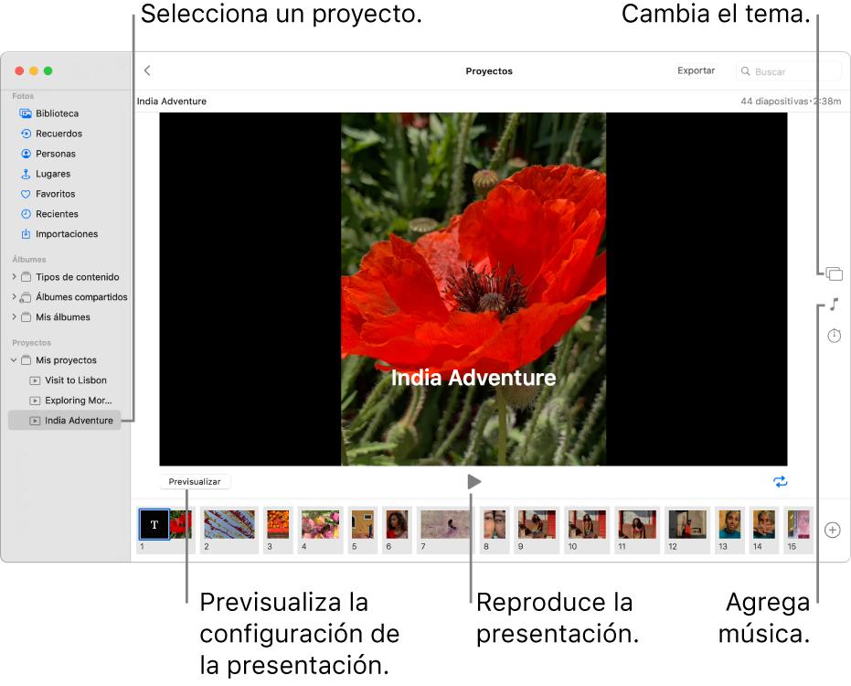 La ventana de Fotos mostrando una presentación de diapositivas en la parte principal de la ventana, con el botón Previsualizar, el botón Reproducir y el botón de bucle debajo de la imagen principal de la presentación; miniaturas de todas las imágenes de la presentación en la parte inferior de la ventana y, a la derecha, el botón Tema, el botón Música y el botón Duración.