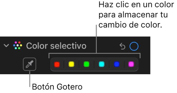 """Los controles de """"Color selectivo"""" en el panel Ajustar mostrando el botón Gotero y las paletas de colores."""