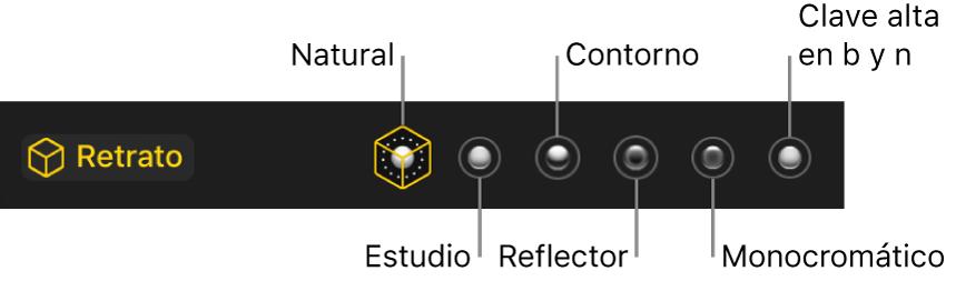 Las opciones de efectos de iluminación del modo retrato, incluyendo (de izquierda a derecha) Natural, Estudio, Contorno, Monocromático y High-Key Mono.