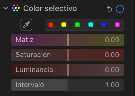 """Los controles de """"Color selectivo"""" en el panel Ajustar mostrando los reguladores Matiz, Saturación, Luminancia y Rango."""