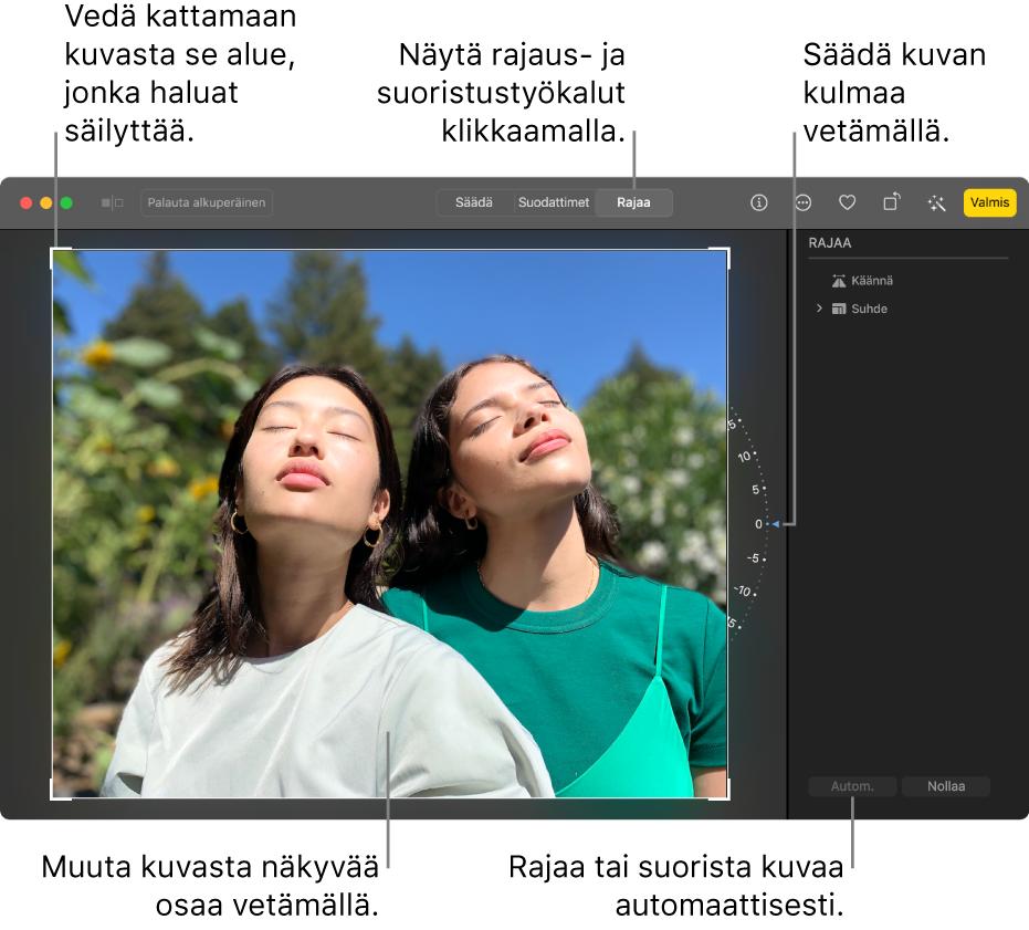 Kuva muokkausnäkymässä. Työkalupalkissa on valittuna Rajaa, valintanelikulmio kuvan ympärillä, kuvan oikealla puolella kulman säätöympyrä ja alaoikealla Automaattinen-painike.