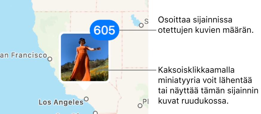 Kuvaminiatyyri kartalla ja numero oikeassa yläkulmassa ilmaisemassa sijainnissa otettujen kuvien määrää.