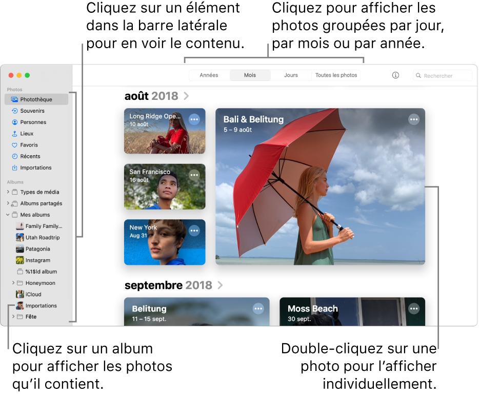 La fenêtre Photos affichant Mois sélectionné dans la barre d'outils et les photos organisées par mois apparaissant dans la zone principale de la fenêtre. À gauche se trouve la barre latérale, où vous pouvez sélectionner des albums et des projets.
