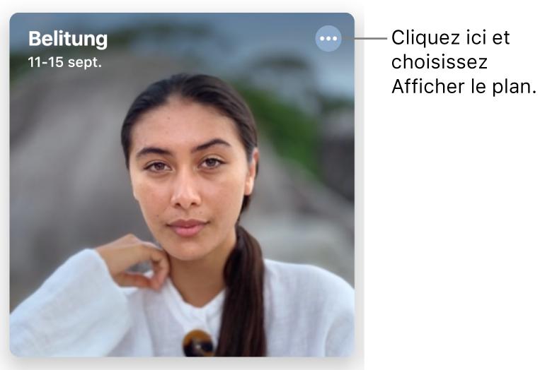 Une photo qui montre des photos prises un jour précis, avec les données de localisation en haut à gauche et un bouton en haut à droite qui fournit plus d'options, notamment celle d'afficher un plan.