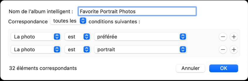 Une boîte de dialogue affichant les critères d'un album intelligent qui recueille les photos en mode portrait qui ont été marquées comme favorites.