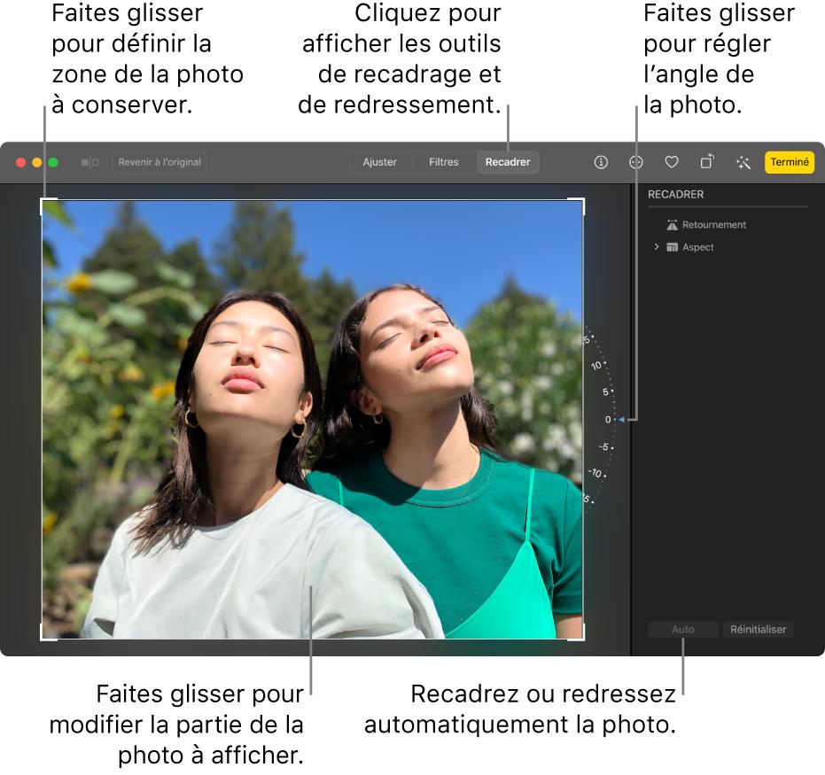 Une photo en mode édition, avec l'outil Recadrer sélectionné dans la barre d'outils, un rectangle de sélection autour de la photo, une roue d'inclination à droite de la photo et un bouton Auto en bas à droite.