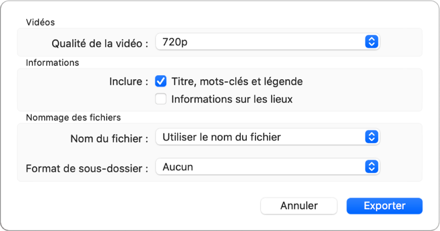 Une zone de dialogue présentant les options d'export de vidéos.