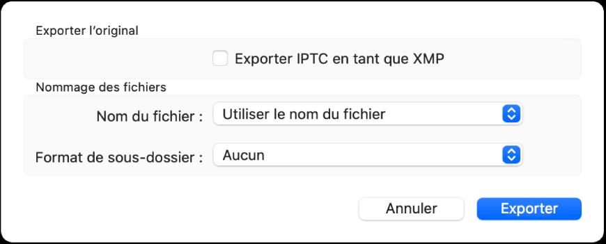 Une zone de dialogue affichant les options d'export de fichiers photo au format d'origine.