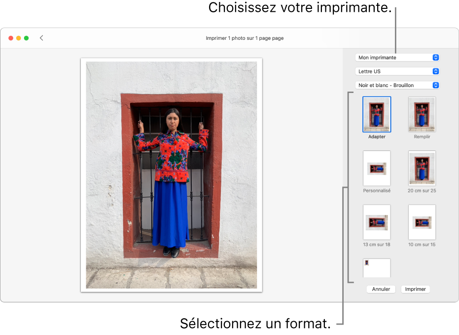 Une fenêtre permettant de sélectionner des options d'impression, avec une zone d'aperçu avant impression à gauche et des options d'impressions à droite.