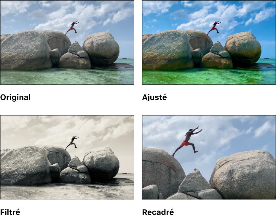 Quatre versions d'une vidéo: la vidéo originale, une version avec des ajustements, une version avec un filtre et une version qui est recadrée pour créer un gros plan.