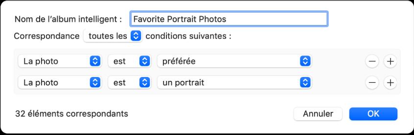 Une zone de dialogue montrant des critères pour un album intelligent qui recueille des photos en mode portrait qui ont été marquées comme favorites.