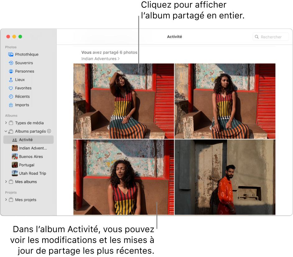 La fenêtre Photos avec Activité sélectionné dans la barre latérale et l'album Activité affiché à droite.