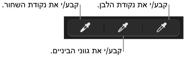 שלוש טפטפות המשמשות לבחירת הנקודה השחורה, גווני האמצע והנקודה הלבנה של התמונה.